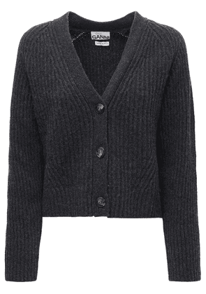 Wool Blend Rib Knit Cardigan