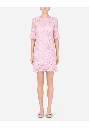 Dolce & Gabbana Dresses - SHORT LACE DRESS WITH RUCHING LILAC female 40