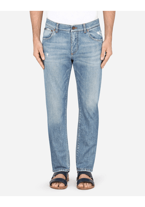 Dolce & Gabbana Denim - LIGHT BLUE SLIM-FIT STRETCH JEANS WITH MICRO-RIPS AZURE male 44