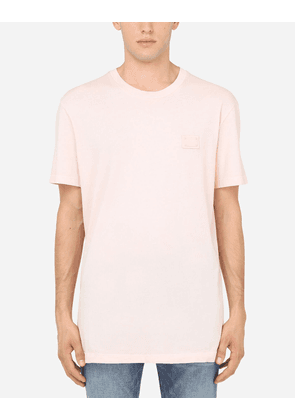 Dolce & Gabbana T-Shirts and Polos - COTTON T-SHIRT WITH BRANDED PLATE PINK male 42