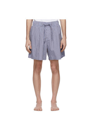 Tekla Blue and Brown Striped Pyjama Shorts