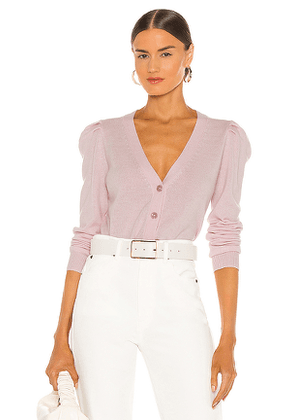 Autumn Cashmere Puff Sleeve V Neck Cardigan in Pink. Size M, S, XS.