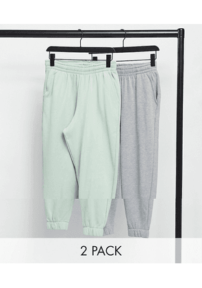 ASOS DESIGN oversized cropped joggers in grey marl & pastel green 2 pack-Multi