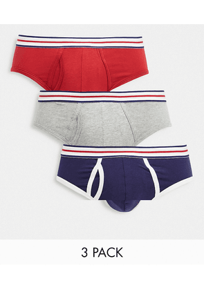 ASOS DESIGN 3 pack briefs with striped waistband-Multi
