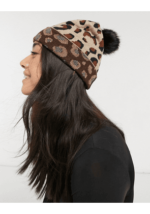 Aldo knitted long beanie in leopard print with black faux fur pom pom-Brown