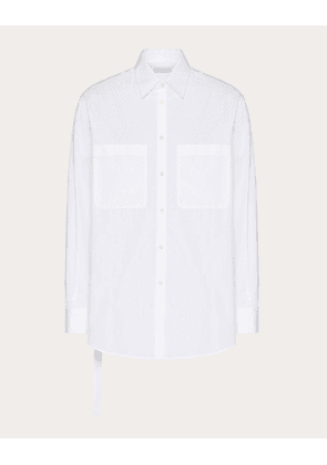 Valentino Uomo Long-sleeved Cotton Shirt With Open Side And Tie Man Optic White Cotton 100% 38