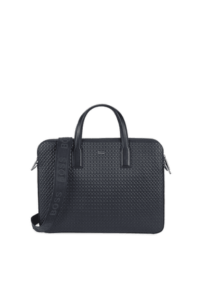 BOSS Crosstown Navy Leather Briefcase