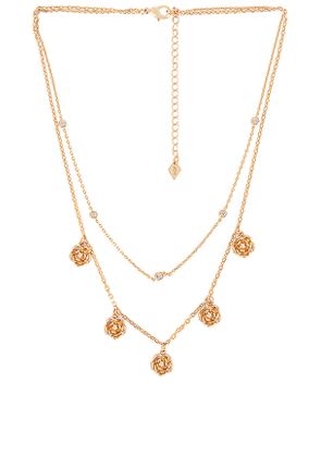 Joy Dravecky Jewelry Double Layer Rose Shaker Necklace in Metallic Gold.