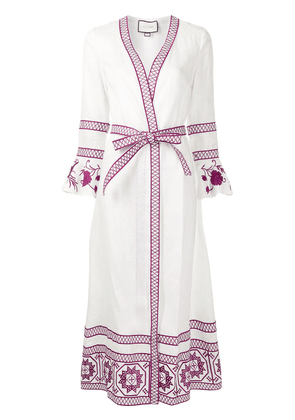 Alexis tie-fastening long-sleeved robe - White