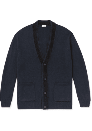 Camoshita - Contrast-Tipped Wool and Cotton-Blend Cardigan - Men - Blue