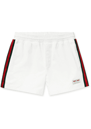 GUCCI - Mid-Length Webbing-Trimmed Swim Shorts - Men - White