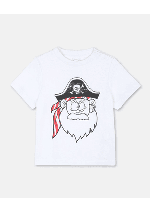 Stella McCartney Kids White Funny Pirate Face T-shirt, Unisex, Size 1-3