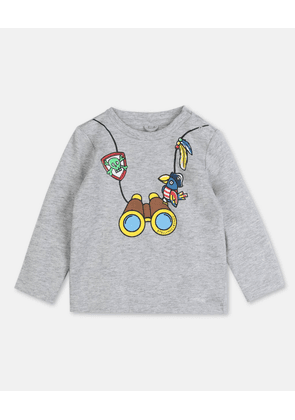 Stella McCartney Kids GREY Binocular Cotton T-shirt, Unisex, Size 1-3