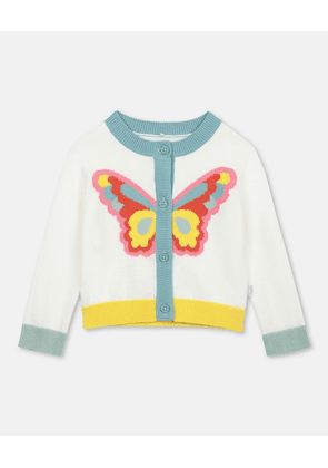 Stella McCartney Kids White Butterfly Intarsia Knit Cardigan, Unisex, Size 1-3