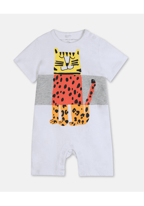 Stella McCartney Kids White Tiger Cotton Jumpsuit, Unisex, Size 1-3