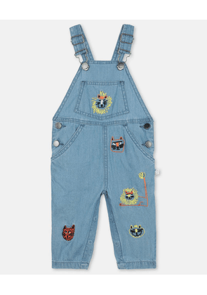 Stella McCartney Kids Blue Embroidered Cats Cotton Chambray Dungarees, Unisex, Size 1-3