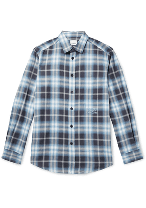 BURBERRY - Logo-Embroidered Checked Herringbone Cotton-Poplin Shirt - Men - Blue - XS