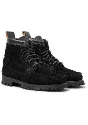 Yuketen - Angler Leather-Trimmed Textured-Suede Boots - Men - Black