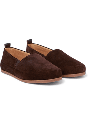 Mulo - Shearling-Lined Corduroy Slippers - Men - Brown