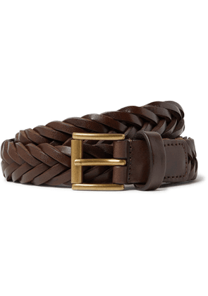 Anderson's - 2.5cm Woven Leather Belt - Men - Brown