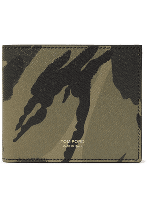 TOM FORD - Camouflage-Print Full-Grain Leather Billfold Wallet - Men - Gray