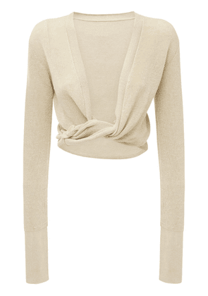 Cropped Linen Knit Twisted Cardigan