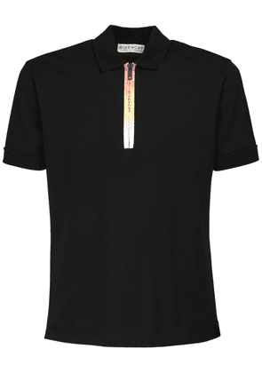Cotton Polo Shirt W/ Gradient Logo Zip