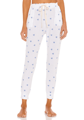 Stripe & Stare Lounge Pant in White,Blue. Size M, S.