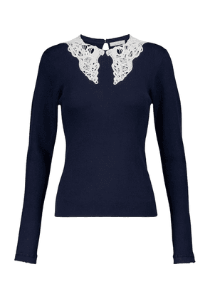 Lace-trimmed cotton sweater