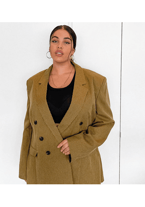 COLLUSION Plus exclusive double breasted blazer in tan pinstripe-Brown