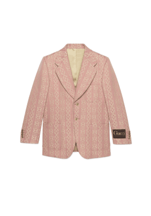 Jacquard wool silk jacket with Gucci label