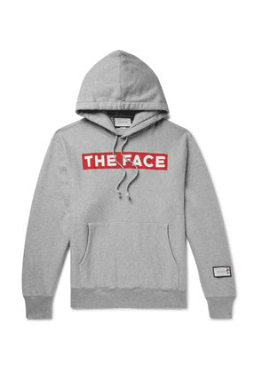 GUCCI - The Face Oversized Logo-Print Mélange Loopback Cotton-Jersey Hoodie - Men - Gray