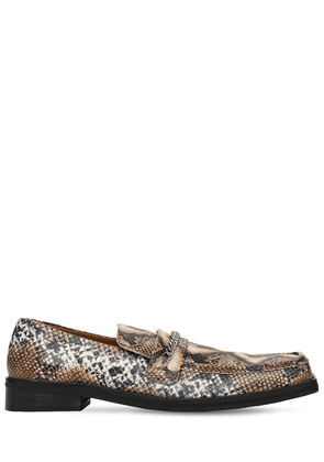 35mm Snake Embossed Leather Loafers