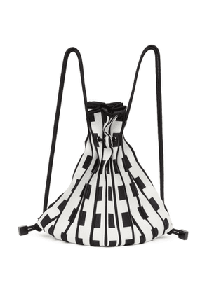 Issey Miyake White and Black Linear Knit Backpack