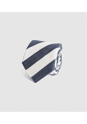 Reiss Cannes - Silk Blend Striped Tie in Ecru/Navy, Mens
