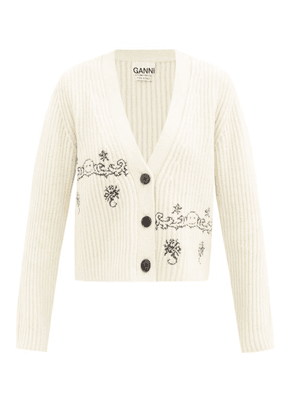 Ganni - Smiling Face-embroidered Wool-blend Cardigan - Womens - Cream