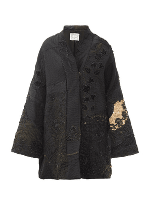 By Walid - Basma Beaded & Embroidered Silk Evening Coat - Womens - Black