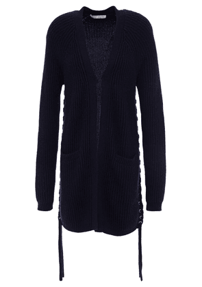 Autumn Cashmere Lace-up Ribbed-knit Cardigan Woman Navy Size M