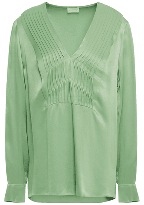 By Malene Birger Pintucked Satin-crepe Blouse Woman Leaf green Size 38