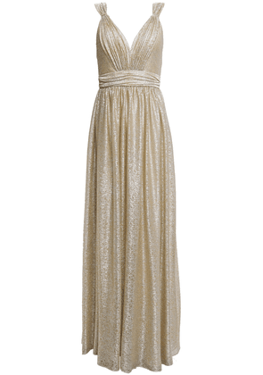 Catherine Deane Caterina Pleated Metallic Coated Knitted Gown Woman Platinum Size 12