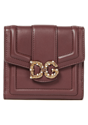 Dolce & Gabbana Dg Amore Embellished Leather Wallet Woman Burgundy Size --