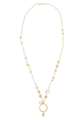 Chan Luu 18-karat Gold-plated Sterling Silver, Pearl And Stone Necklace Woman Ivory Size --