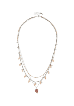 Chan Luu Sterling Silver, Gold-tone, Labradorite And Quartz Necklace Woman Rose Gold Size --