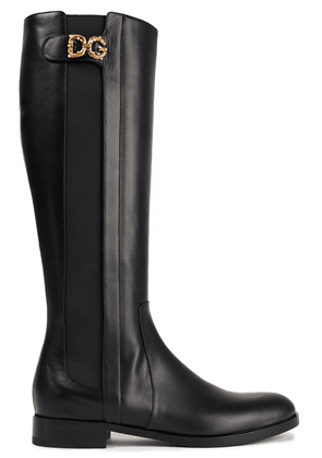 Dolce & Gabbana Leather Knee Boots Woman Black Size 36