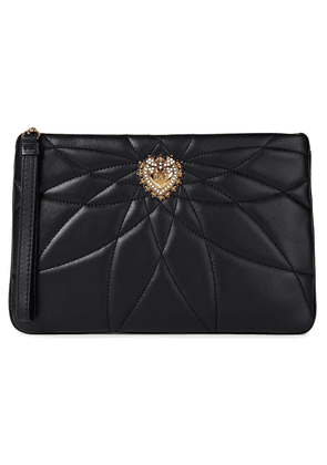 Dolce & Gabbana Devotion Embellished Quilted Leather Pouch Woman Black Size --