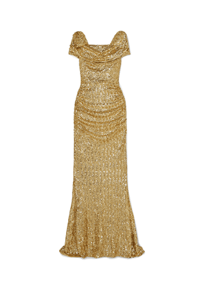 Dolce & Gabbana Draped Sequined Silk-blend Gown Woman Gold Size 38