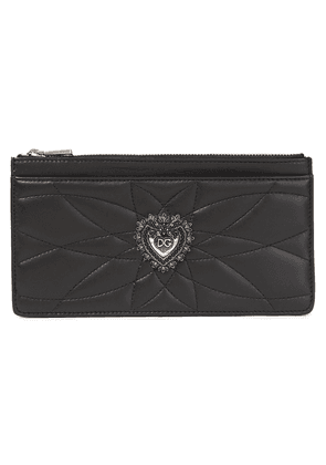Dolce & Gabbana Devotion Embellished Quilted Leather Wallet Woman Black Size --