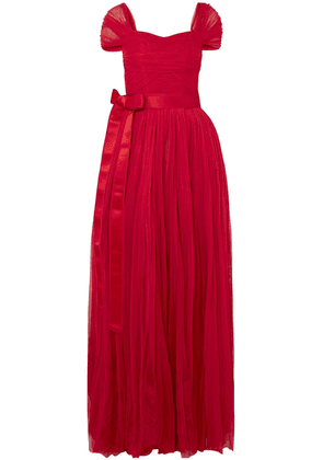 Dolce & Gabbana Belted Silk-tulle Gown Woman Red Size 44