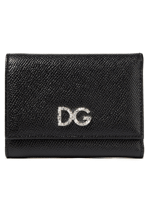 Dolce & Gabbana Crystal-embellished Textured-leather Wallet Woman Black Size --