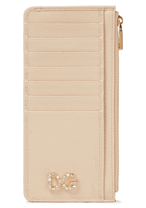 Dolce & Gabbana Crystal-embellished Textured-leather Wallet Woman Neutral Size --